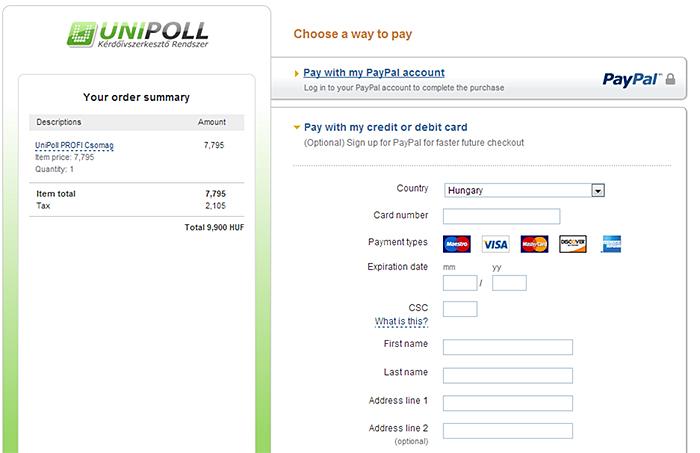 PayPal bankkártyás fizetés űrlap